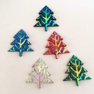 10 PC Multi colored Christmas Glitter Tree Buttons